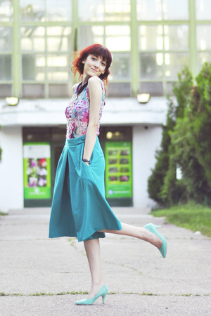 aquamarine H&amp;M heels - Primark top - turquoise blue asos pants