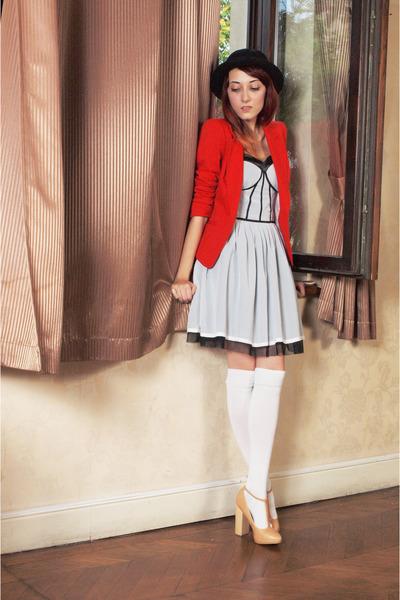 nude asos heels - red H&M blazer