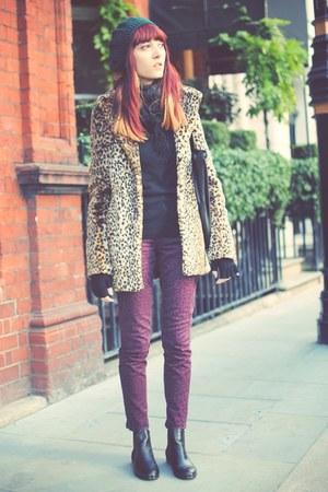 leopard print new look coat - magenta H&M jeans