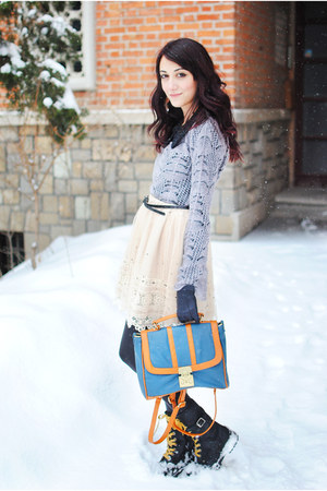 OASAP bag - silver Mango sweater - ivory lace Tina R skirt