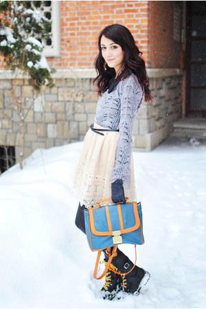 OASAP bag - silver Mango sweater - ivory lace Tina R skirt