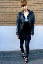 Forever 21 accessories - H&M jacket - Forever 21 dress - Forever 21 tights - pay