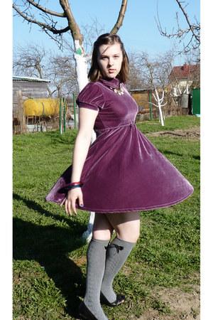 hot pink ted baker bracelet - blue ted baker bracelet - purple dress
