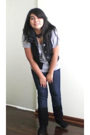 Tpt jeans - black axxs boots - silver La Redoute shirt - black axxs vest - I mad
