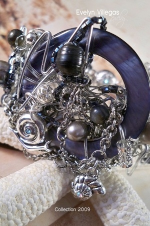 gray Evelyn Villegas bracelet - blue - silver