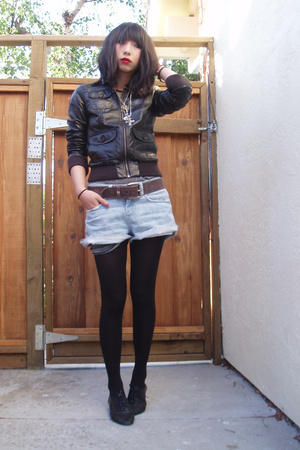 H&M jacket - Treasure Chest vintage shirt - Topshop shorts - seychelles shoes
