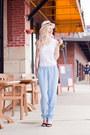 ivory Joes Jeans hat - white Joes Jeans shirt - sky blue Joes Jeans pants