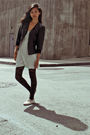 black Forever 21 jacket - blue Forever 21 dress - black Urban Outfitters tights