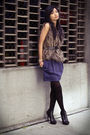 brown LF Boutique vest - blue French Connection dress - black Urban Outfitters t