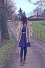 blue dress - brown shoes - silver jacket - black tights