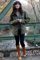 olive green jacket - bronze vintage boots boots - black black leggings leggings