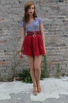brick red everybodys buying vintage skirt - navy striped tee Ralph Lauren top