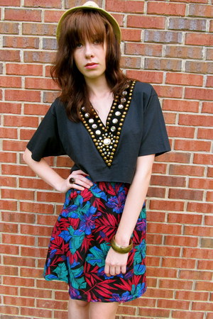 80s mini skirt vintage skirt - black tee handmade top