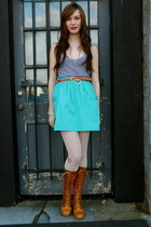 vintage boots boots - grey tank top American Apparel top - vintage belt belt