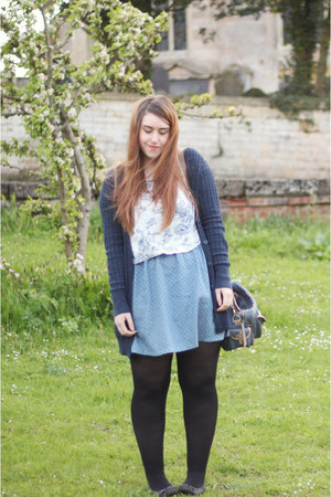 sky blue worn as a skirt modcloth dress - navy Asda cardigan