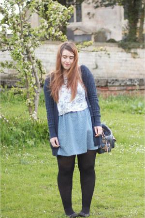 sky blue worn as a skirt modcloth dress - navy Asda cardigan