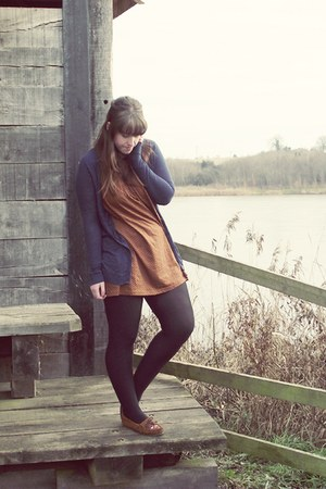 Topshop dress - Topshop cardigan - Primark tights - Minnetonka shoes