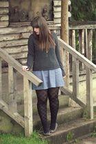 gray H&M sweater - blue modcloth dress - black George of ASDA tights - gray Rive