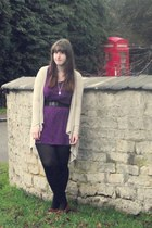 brown Minnetonka shoes - purple George of ASDA dress - black Primark tights - bl