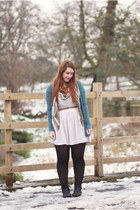 black Dorothy Perkins boots - off white H&M dress - tan H&M scarf