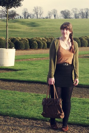 brown Minnetonka shoes - brown Dorothy Perkins bag - black H&M belt - black H&M