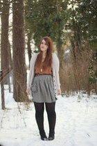 silver River Island skirt - black Dorothy Perkins boots - beige Mango cardigan