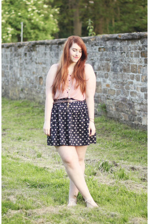 navy Topshop skirt - light brown H&amp;M belt - light pink H&amp;M top