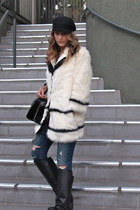 faux fur H&M coat - leather Enzo Angiolini boots - leather kate spade bag