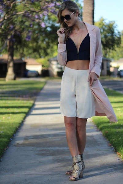 navy crop top Lulus top - light pink trench coat Rehab Clothing coat