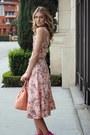 Coral-floral-dress-new-york-and-co-dress-coral-pink-bag-brahmin-bag
