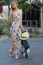 Beige-lush-dress-h-m-hat-navy-denim-jacket-guess-jacket