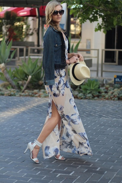 white JustFab heels - beige Lush dress - H&M hat