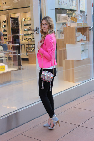 pink clutch purse katherine Kwei bag - black black denim JustFab jeans