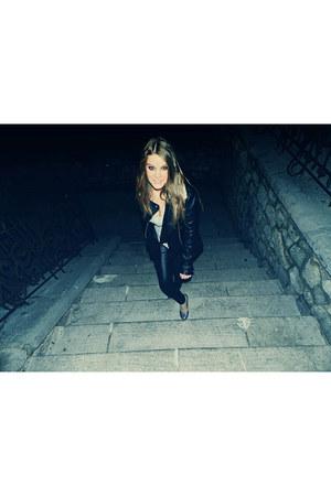 black Forever 21 blazer - black Topshop jacket - silver H&M shirt