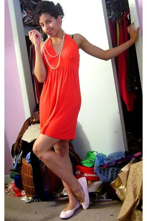 orange Forever 21 dress - pink necklace - pink Sugarfoot shoes