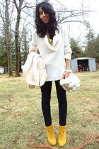 mustard Bamboo boots - white scoop neck Eddie Bauer sweater - navy jean Bongo le
