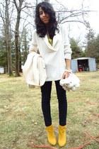 mustard Bamboo boots - white scoop neck Eddie Bauer sweater - navy jean Bongo le