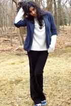navy American Eagle blazer - white Sag Harbor shirt - black zipper heart Claires