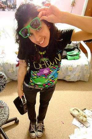 black Forever 21 jeans - lime green checkerboard sunglasses - black gir Hot Topi