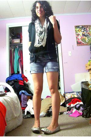 black LA Kitty jacket - black Miley CyrusMax Azria top - blue Apollo Jean shorts