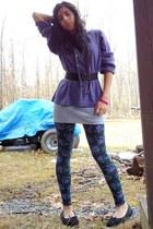black floral Miley CyrusMax Azria leggings - deep purple NY Jeans shirt - heathe