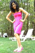 pink necklace - pink dress - pink shoes