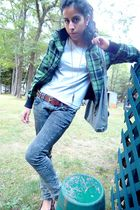 green Mudd jacket - gray Hanes shirt - brown belt - green vanilla sky jeans - br