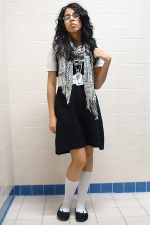 black energie dress - white polo shirt - white leopard scarf - black necklace -