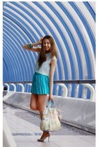 aquamarine BGN skirt - sky blue Bracciallini bag - cream Kenzo heels