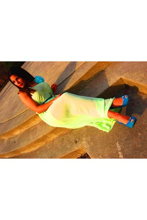 teal boutique pumps - lime f21 dress - teal F21 & H&M accessories