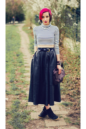 leather second hand skirt - DIY top - River Island wedges