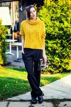 mustard knitted Bershka sweater - n-1 pants