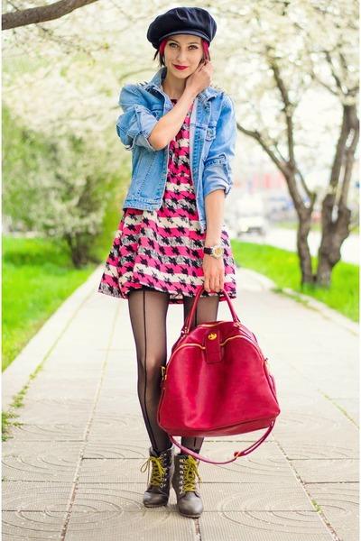 nowIStyle bag - nowIStyle dress - studded denim DIY jacket