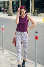 Egoist-jeans-purple-cropped-second-hand-top